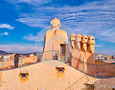 La Pedrera roof Editorial Stock Photo