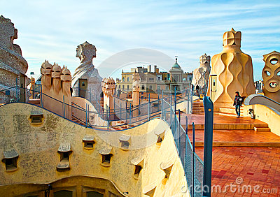 La Pedrera roof Editorial Photo