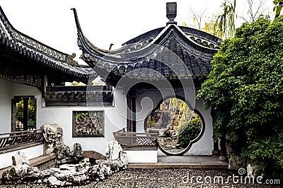 La porte ronde dans le jardin chinois photo libre de for Conception jardin chinois