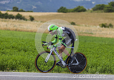 La presa de Laurens diez del ciclista Fotografía editorial