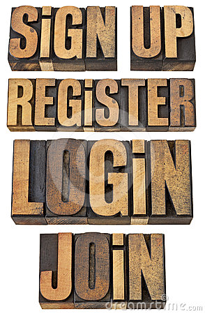 La procédure de connexion, registre, se joignent, s inscrivent