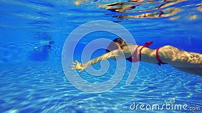 9be79bd54c La Ragazza In Un Costume Da Bagno Rosso Nuota Sotto L'acqua Nello Stagno  Archivi Video - Video di sorriso, diving: 130520977