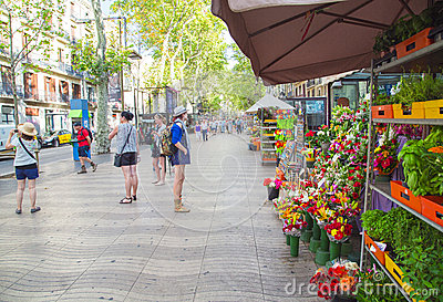 La Rambla in Barcelona, Spain Editorial Photo