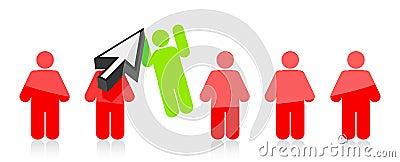 La riga della gente e di una ha selezionato da un cursore