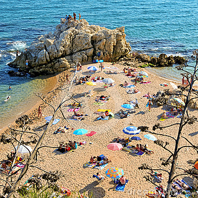 La Roca Grossa Beach in Sant Pol de Mar, Spain Editorial Stock Photo