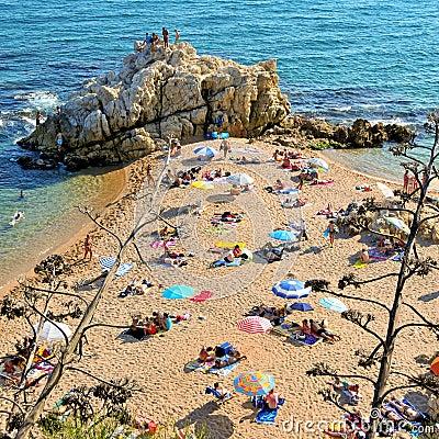 La Roca Grossa Beach in Sant Pol de Mar, Spain Editorial Stock Photo