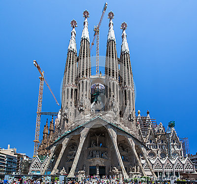 La Sagrada Famila Church Barcelona Spain Editorial Stock Photo