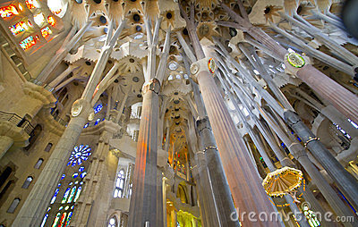 La Sagrada Familia interior Editorial Stock Photo