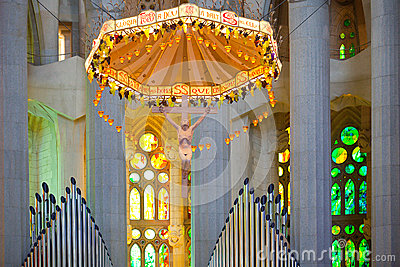 La Sagrada Familia, interior Imagem de Stock Editorial