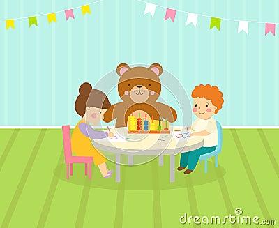La sala de juegos de los niños con el patio ligero de la ...