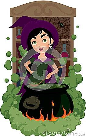La sorcière fait cuire le breuvage magique
