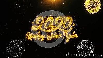 La tarjeta de felicitaciones de los deseos de la Feliz Año Nuevo 2020, invitación, fuego artificial de la celebración colocó