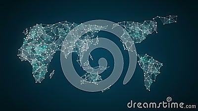 La technologie d'IoT relient la carte globale du monde les points fait la carte du monde, Internet des choses de gare