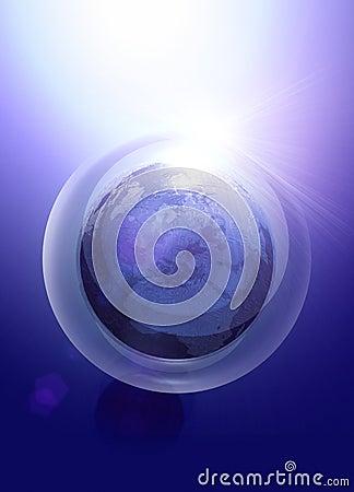 La terra gradice il globo nella bolla di obbligazione