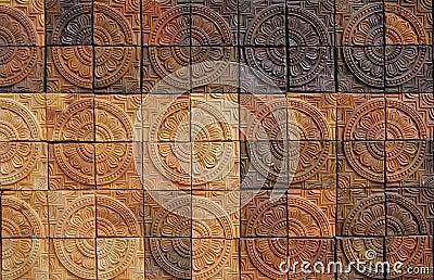 ... la terracota del color de tono de la forma del círculo con color de