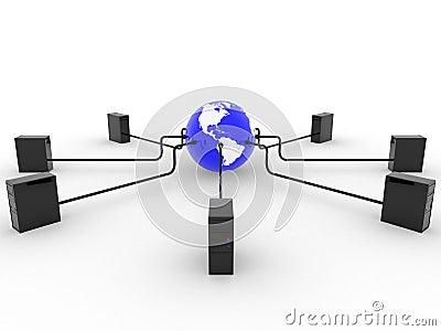La terre avec des serveurs