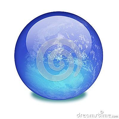 La terre de planète sur un marbre brillant