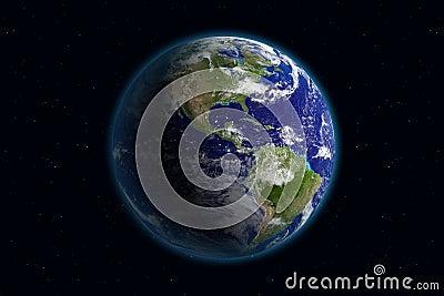 La terre - l Amérique et les nuages