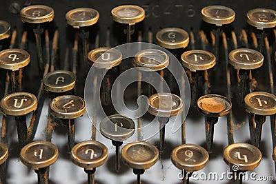 Vecchie chiavi della macchina da scrivere