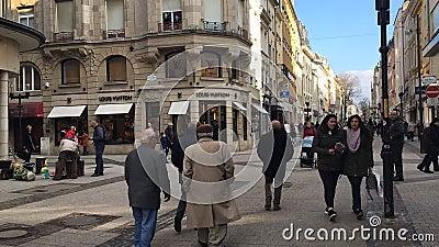 La ville du Luxembourg, rue grande de rue piétonnière principale - laps de temps banque de vidéos