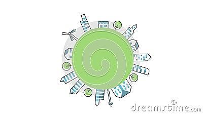 La ville tourne autour du cercle vide, sauvez le concept du monde, le concept de l'environnement vert, ou voyagez autour du conce clips vidéos