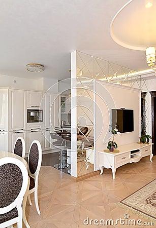la vista di un salotto e della cucina si divisa da un