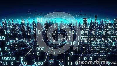 La vue aérienne de la ville numérique futuriste abstraite, un fond de pointe avec des rangées de binaire s'est reliée au réseau g banque de vidéos