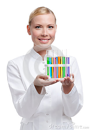 Lab assistant holds test-tubes rack