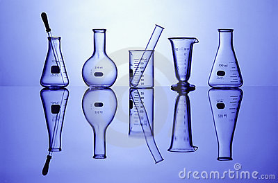 Lab Glassware on Blue