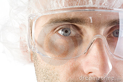 Lab tech with goggles