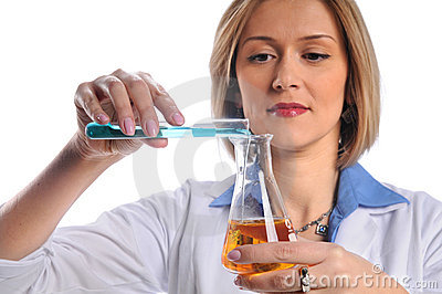 Lab Tech Mixing Liquids