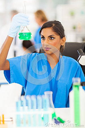 Lab technician analyzing