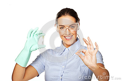 Lab technician with a test tube