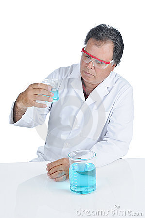 Lab Technician wearing safety glasses