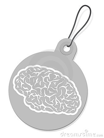 Label with brain silhouette