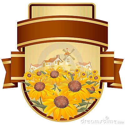 Free Label Design With Yellow Flowers. Stock Photo - 15452180