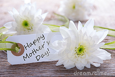 Label with Happy Mothers Day Stock Photo