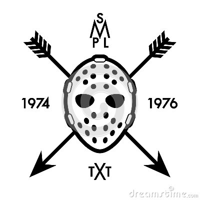 Label with hockey mask