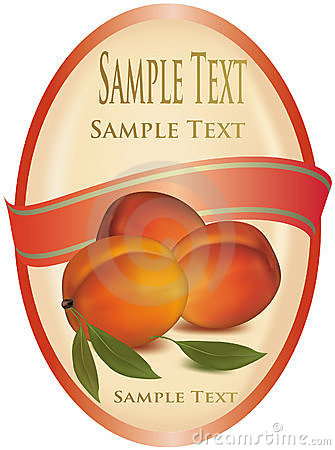 Label with peaches.