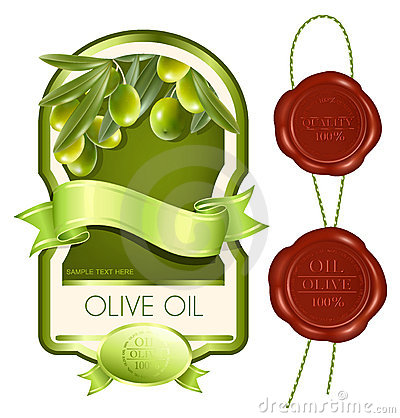Label for product. Olive oil.