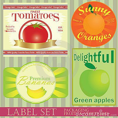 Free Label Set: Fruits And Vegetables Royalty Free Stock Image - 17870836