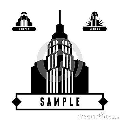 Label with skyscraper