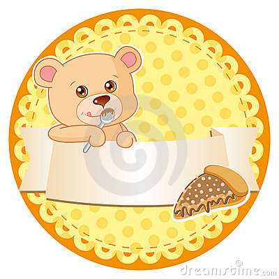 Label with teddy bear