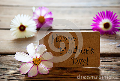 Label With Text Happy Mothers Day With Cosmea Blossoms Stock Photo