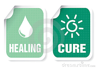 Label with a text: healing, cure