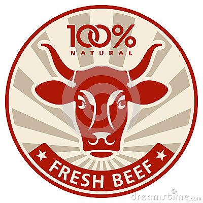 Free Label With The Head Of A Cow Stock Images - 26573694