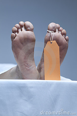 Labeled Feet Of A Corpse In The Morgue