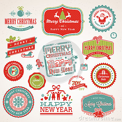 Free Labels And Elements For Christmas And New Year Royalty Free Stock Photo - 27394775