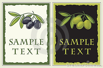 Labels with black and green olives