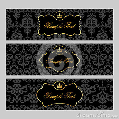 Labels with gold elements on damask background